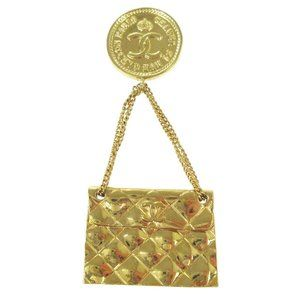 CHANEL CC Quilted Bag Motif Brooch Pin Gold-tone